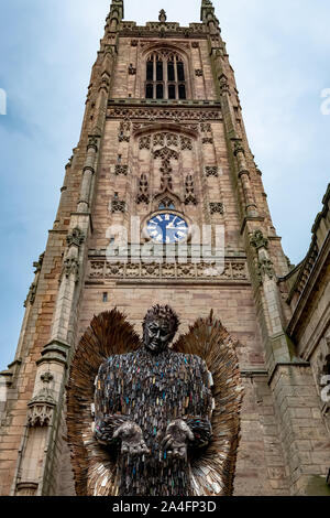 The Knife Angel Sculpture/Memorial at Derby Cathedral Derbyshire UK,A National Touring Monument by Artist Alfie Bradley Highlighting Knife Crime - Stock Photo