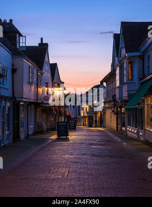 West Street at sunset; a historic street in the market town of Faversham, Kent. - Stock Photo