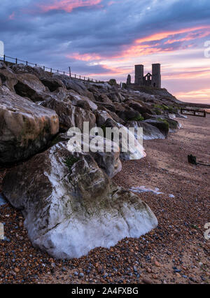 Reculver Towers on the North Kent coast nr Herne Bay at sunset. - Stock Photo