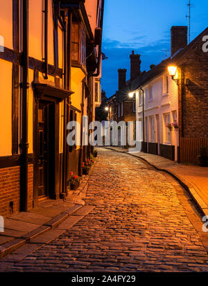 Nighttime cobbled streets in the historic market town of Faversham, Kent. - Stock Photo
