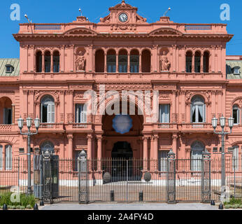 Entrance to the Casa Rosada (Pink House), office of the Argentinian President, Plaza de Mayo, Buenos Aires, Argentina - Stock Photo