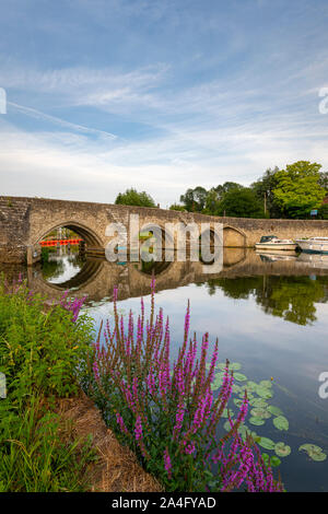 East Farleigh Bridge is a Grade 1 listed medieval bridge across the River Medway in Kent. Stock Photo