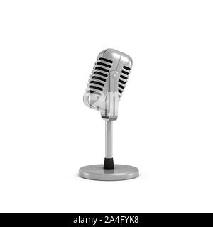 3d rendering of a silver metal retro tabletop microphone with a round base. Public speaking. Talking to audience. Master class. - Stock Photo