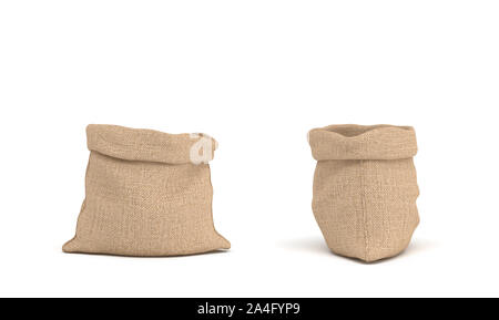 3d rendering of two open canvas sacks, one sack in front view and another in side view on white background. Transportation and delivery. Buying in bul - Stock Photo