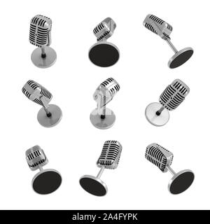 3d rendering of many retro table microphones in different views on white background. Sound equipment. Voice recording. Public speaking. - Stock Photo