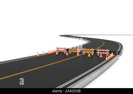 3d rendering of a road closed with the barriers, traffic cones, and caution signs due to roadworks diversion. Asphalting and concreting. Road repair s - Stock Photo
