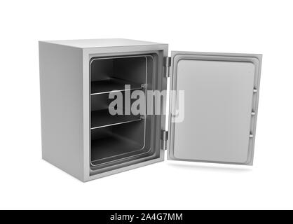 3d rendering of a steel safe box with open door, isolated on a white background. Security storage. Bulletproof and fireproof. Keeping money. - Stock Photo