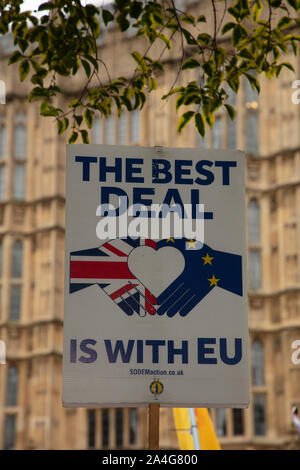 Stop Brexit placard seen in front of houses of parliament, London, UK. - Stock Photo