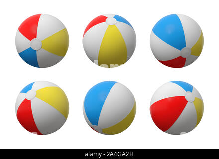 3d rendering of many identical inflated beach balls with white, red, yellow and blue stripes. Set of game equipment. Sea resorts. Sea shore fun. - Stock Photo