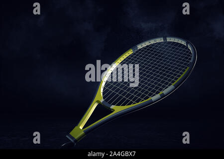 3d rendering of a yellow and black professional tennis racquet hanging in spotlight on a white background. - Stock Photo