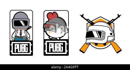 Set pubg game. silhouette of a soldier, player. in uniform. vector illustration logo. logo winner winner chicken dinner. - Stock Photo