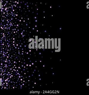 Violet particles falling on transparent background, horizontal orientation. Vector. - Stock Photo