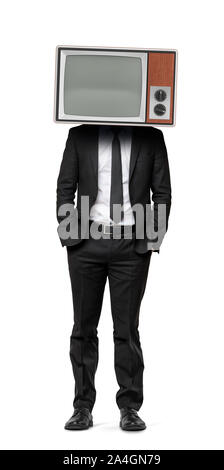 A businessman on an isolated background with hands in his pockets and an old TV instead of his head. - Stock Photo