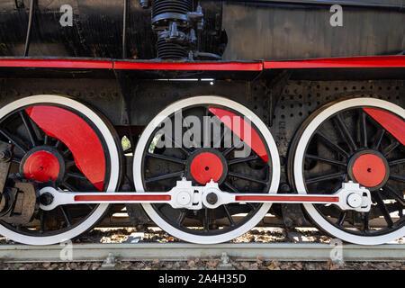 Old steam black train locomotive - Stock Photo