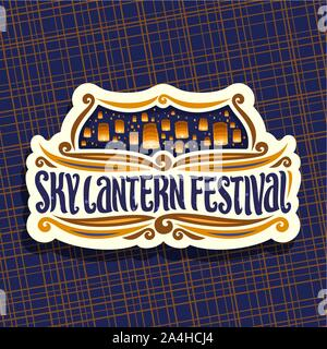 Vector logo for Sky Lantern Festival, signboard with flying paper balloons with burning candles in evening sky, original brush typeface for words sky - Stock Photo