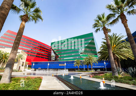 The Pacific Design Center, designed by Cesar Pelli, houses design showrooms and hosts events in West Hollywood, California - Stock Photo