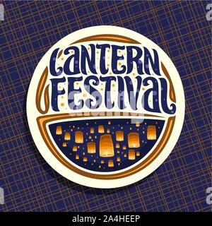 Vector logo for Sky Lantern Festival, round sign with many flying paper balloons with burning candles in evening sky, original brush typeface for word - Stock Photo