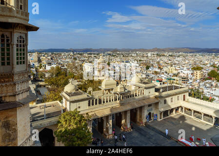 Udaipur, India - February 17, 2019: View of city from City palace in Udaipur. Rajasthan - Stock Photo