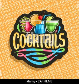 Vector logo for alcoholic Cocktails, black signage with 3 colorful refreshing mocktails and original brush typeface for word cocktails, classic cosmop - Stock Photo