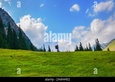 Idyllic summer landscape with hiker in the mountains with beautiful fresh green mountain pastures and forest. Concept of outdoor activities and advent - Stock Photo