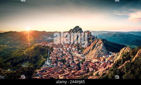 Aerial view of Pietrapertosa rural village in Apennines Dolomiti Lucane. Basilicata, Italy, at sunset - Stock Photo