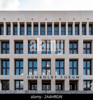Berlin, Germany - July 27, 2019: View of the Humboldt Forum with the the television tower reflected on windows - Stock Photo