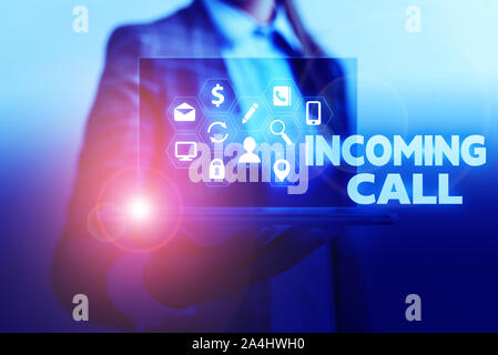 Handwriting text writing Incoming Call. Conceptual photo Inbound Received Caller ID Telephone Voicemail Vidcall - Stock Photo