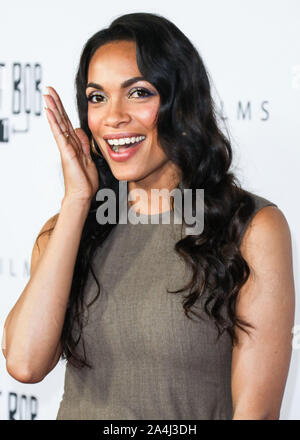 HOLLYWOOD, LOS ANGELES, CALIFORNIA, USA - OCTOBER 14: Actress Rosario Dawson arrives at the Los Angeles Premiere Of Saban Films' 'Jay and Silent Bob Reboot' held at the TCL Chinese Theatre IMAX on October 14, 2019 in Hollywood, Los Angeles, California, United States. (Photo by David Acosta/Image Press Agency) - Stock Photo
