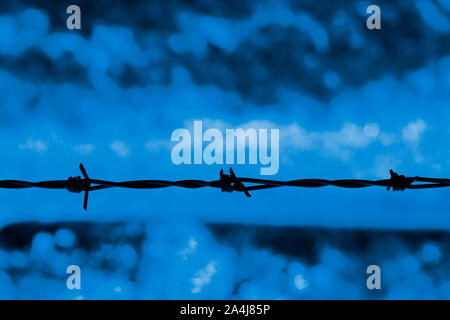 Barbed wire silhouetted against a blue background - Stock Photo
