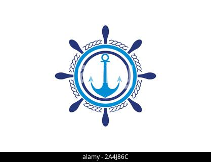 Ship steering wheel and Anchor logo design template - Stock Photo