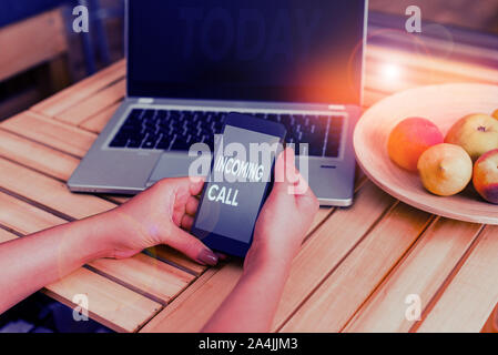 Conceptual hand writing showing Incoming Call. Concept meaning Inbound Received Caller ID Telephone Voicemail Vidcall woman with laptop smartphone and - Stock Photo