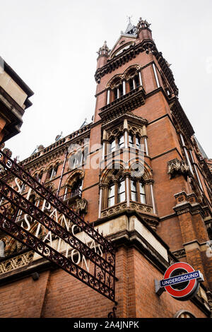 The beautiful Saint Pancras building in London - Stock Photo