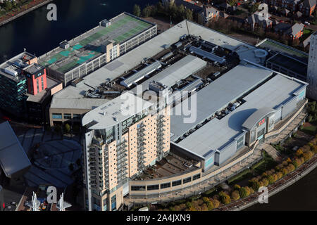 aerial view of The Lowry Outlet Mall at Salford Quays, Manchester, UK - Stock Photo