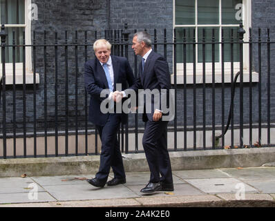 London, UK. 15th Oct, 2019. British Prime Minister, Boris Johnson meets NATO Secretary General, Jens Stoltenberg for talks at 10 Downing Street. Credit: Tommy London/Alamy Live News - Stock Photo