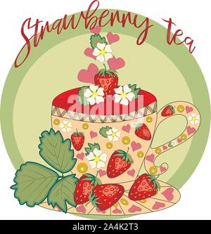 Strawberry tea. Tea cooked with love. A cup with strawberries, decorated with leaves and flowers - Stock Photo
