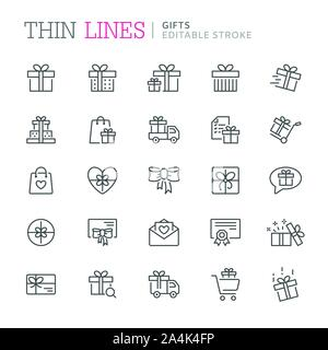 Collection of gifts thin line icons. Editable stroke - Stock Photo