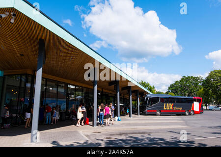 Bussijaam, Bus station, Pärnu, Estonia - Stock Photo
