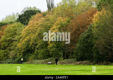 London, UK. 15th Oct, 2019. People at the autumn park in London. Credit: Steve Taylor/SOPA Images/ZUMA Wire/Alamy Live News - Stock Photo