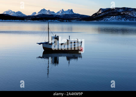 Fishing boat. Tysfjord, Ofoten, Northern Norway - Stock Photo