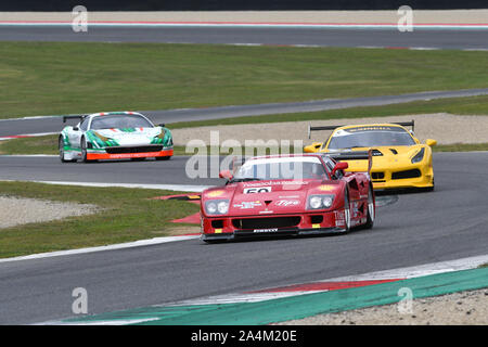 MUGELLO, IT, October, 2017: Vintage Ferrari F40 GT in action at the Mugello Circuit during Finali Mondiali Ferrari 2017. italy. - Stock Photo