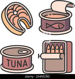 Tuna icons set. Outline set of tuna vector icons for web design isolated on white background - Stock Photo