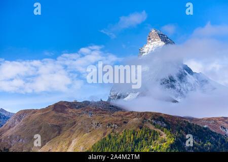Matterhorn snow mount peak close-up and alpine panorama, Switzerland, Swiss Alps