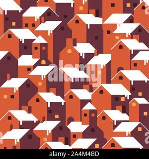Seamless Christmas winter pattern. - Stock Photo