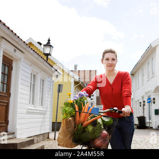 Woman in Mandal in Norway - Stock Photo