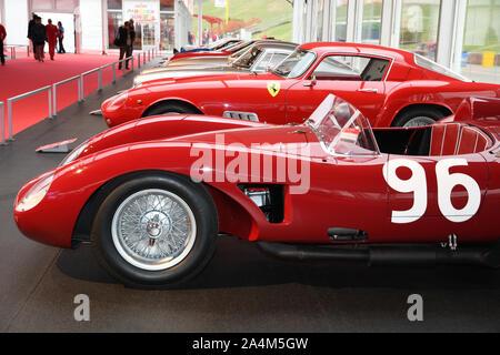 MUGELLO, IT, October, 2017: Vintage Ferrari 500 TRC 1957 at Paddock Show of Ferrari Anniversary 1947-2017 in Mugello Circuit. - Stock Photo