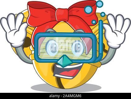 Diving Jingle bell cartoon isolated with mascot - Stock Photo