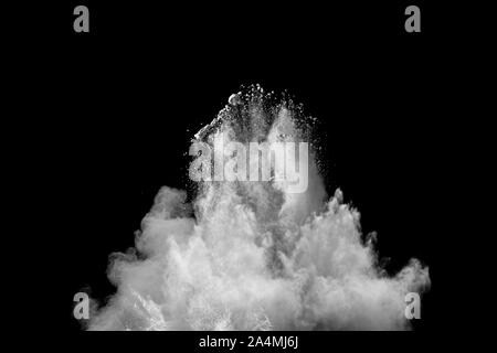 abstract white powder splatter on black background,Freeze motion of white powder exploding. - Stock Photo