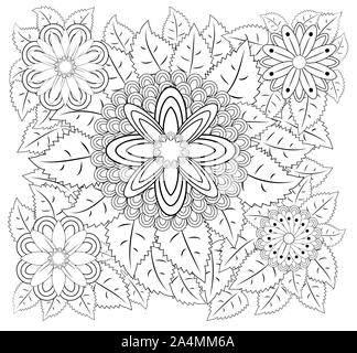 Coloring book for adult and older children. Coloring page with vintage flowers pattern. - Stock Photo