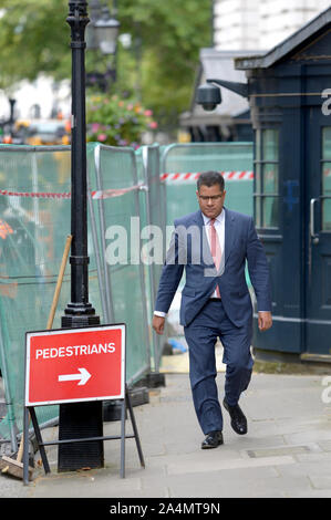Alok Sharma MP (Int Development) arrives in Downing Street for a gathering at Number 10, 2nd September 2019. - Stock Photo