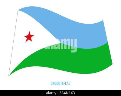 Djibouti Flag Waving Vector Illustration on White Background. Djibouti National Flag. - Stock Photo